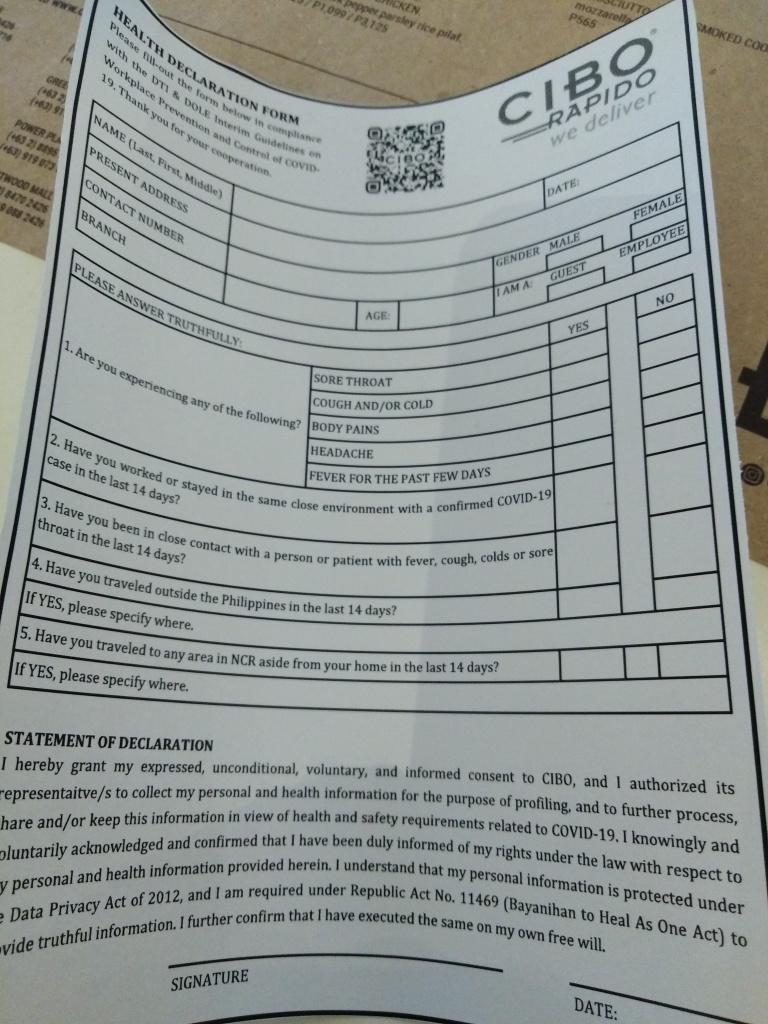 Cibo Health Declaration Form